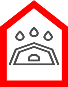 An icon which shows a leaking roof